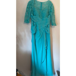 JJs House vintage teal formal lace dress fitted